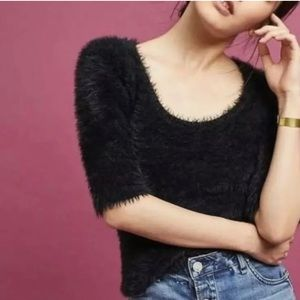 Anthropologie Knitted and Knotted Fuzzy Sweater